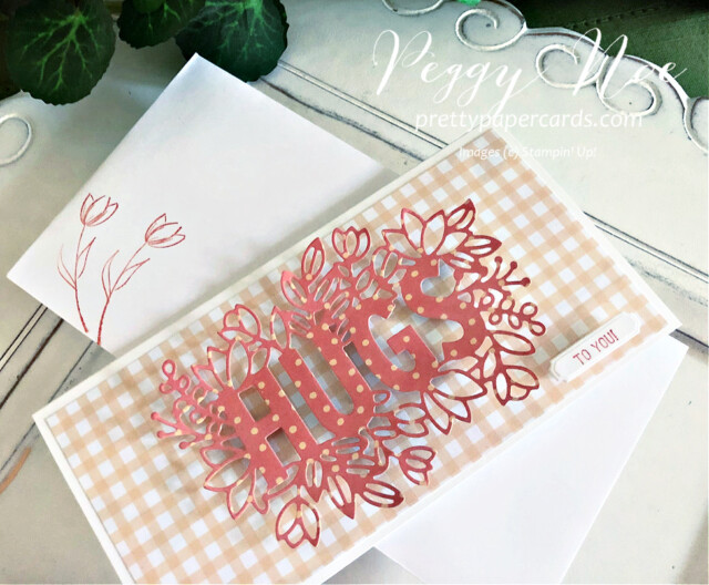 Handmade All Occasion Card using the Sending Hugs Bundle by Stampin' Up! created by Peggy Noe of Pretty Paper Cards #sendinghugs #sendinghugsbundle #peggynoe #prettypapercards #prettypapercards.com #stampinup #stampingup #pansypetalspaper #pansypetalsdsp #freshfreesia #slimline #slimlinecard