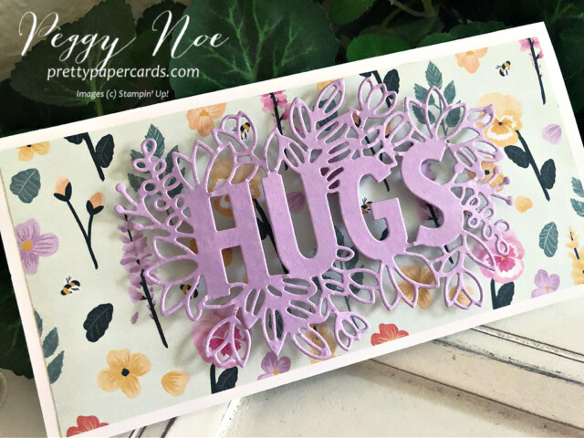 Handmade All Occasion Card using the Sending Hugs Bundle by Stampin' Up! created by Peggy Noe of Pretty Paper Cards #sendinghugs #sendinghugsbundle #peggynoe #prettypapercards #prettypapercards.com #stampinup #stampingup #pansypetals #pansypetalspaper #pansypetalsdsp #freshfreesia #slimline #slimlinecard
