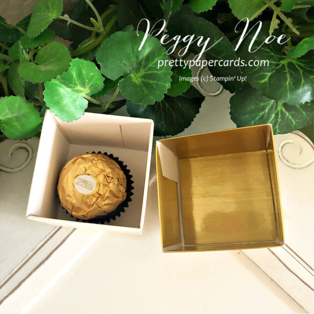 Simply Classic Gold Treat Box by Stampin' Up! by Peggy Noe of Pretty Paper Cards #simplyclassictreatbox #goldtreatbox #stampinuptinytreatbox #peggynoe #prettypapercards