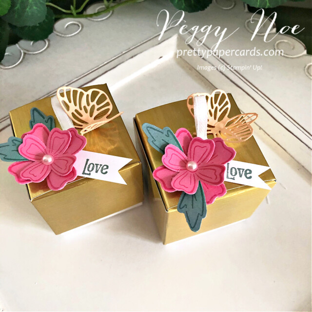 Simply Classic Gold Treat Box by Stampin' Up! by Peggy Noe of Pretty Paper Cards #simplyclassictreatbox #goldtreatbox #tinygoldtreatbox #stampinuptinytreatbox #peggynoe #prettypapercards