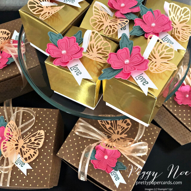 Simply Classic Gold Treat Box by Stampin' Up! by Peggy Noe of Pretty Paper Cards #simplyclassictreatbox #goldtreatbox #peggynoe #prettypapercards