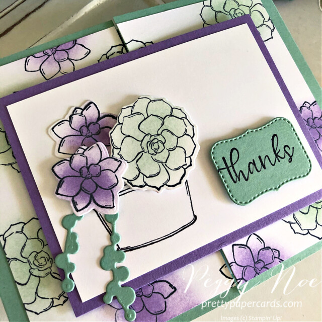 Handmade Thank You Gatefold Card using the Simply Succulents Stamp Set by Stampin' Up! and made by Peggy Noe of  Pretty Paper Cards #peggynoe #prettypapercards #prettypapercards.com #simplysucculents #simplysucculentsstampset #gatefoldcard #gatefold #thankscard #thankyoucard #succulents #stampinup #stampingup