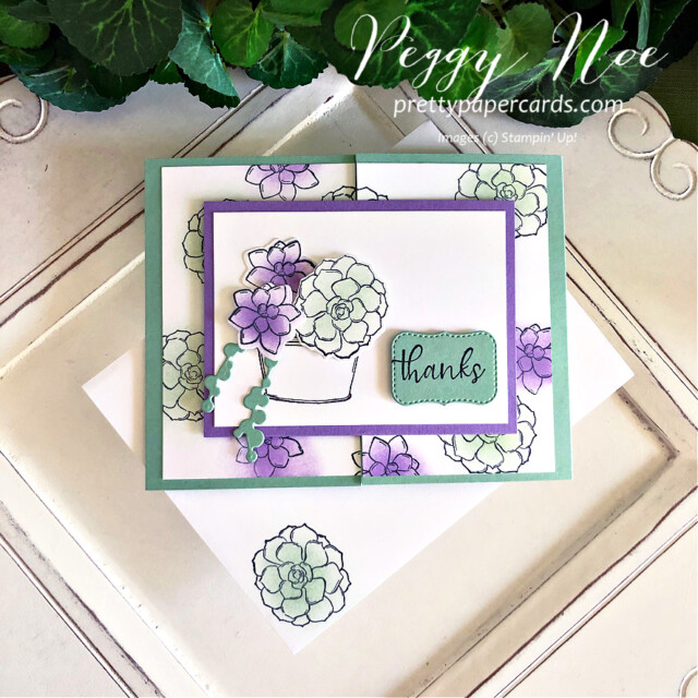 Handmade Thank You Gatefold Card using the Simply Succulents Stamp Set by Stampin' Up! and made by Peggy Noe of  Pretty Paper Cards #peggynoe #prettypapercards #prettypapercards.com #simplysucculents #simplysucculentsstampset #gatefoldcard #gatefold #thankscard #thankyoucard #succulents #stampinup