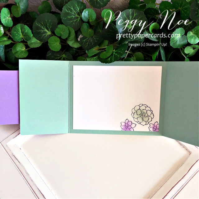 Handmade Thank You Gatefold Card using the Simply Succulents Stamp Set by Stampin' Up! and made by Peggy Noe of  Pretty Paper Cards #peggynoe #prettypapercards #prettypapercards.com #simplysucculents #simplysucculentsstampset #gatefoldcard #gatefold #thankscard #thankyoucard #stampingup #stampinup