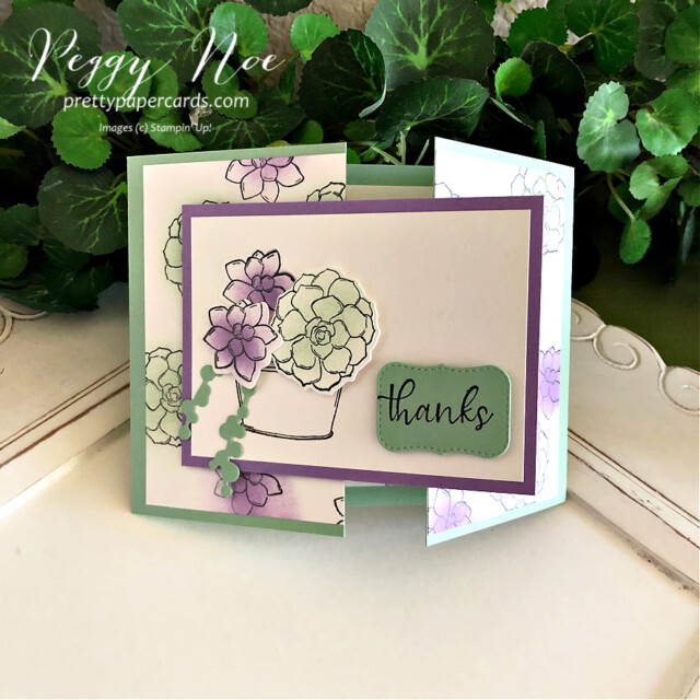 Handmade Thank You Gatefold Card using the Simply Succulents Stamp Set by Stampin' Up! and made by Peggy Noe of  Pretty Paper Cards #peggynoe #prettypapercards #prettypapercards.com #simplysucculents #simplysucculentsstampset #gatefoldcard #gatefold #thankscard #thankyou #stampingup #stampinup