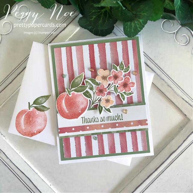 Handmade Thank You Card created with the Sweet as a Peach Bundle by Stampin' Up! designed by Peggy Noe of prettypapercards.com #you'reapeachstampset #thankyou #thankyoucard #peachcard #sweetasapeachbundle #you'reapeachpaper #you'reapeachdsp #peggynoe #prettypapercards #prettypapercards.com #stampinup #stampingup #distinktive