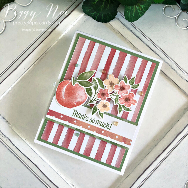 Handmade Thank You Card created with the Sweet as a Peach Bundle by Stampin' Up! designed by Peggy Noe of prettypapercards.com #you'reapeachstampset #thankyou #thankyoucard #peachcard #sweetasapeachbundle #you'reapeachpaper #you'reapeachdsp #peggynoe #prettypapercards #prettypapercards.com #stampinup #stampingup