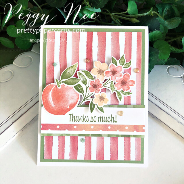 Handmade Thank You Card created with the Sweet as a Peach Bundle by Stampin' Up! designed by Peggy Noe of prettypapercards.com #you'reapeachstampset #thankyou #thankyoucard #peachcard #sweetasapeachbundle #you'reapeachpaper #you'reapeachdsp #peggynoe #prettypapercards #prettypapercards.com #stampinup #stampingup #distinktivestamp #2021-2022AnnualCatalog