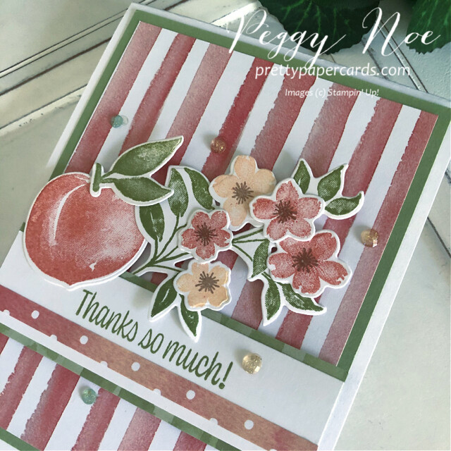 Handmade Thank You Card created with the Sweet as a Peach Bundle by Stampin' Up! designed by Peggy Noe of prettypapercards.com #you'reapeachstampset #thankyou #thankyoucard #peachcard #sweetasapeachbundle #you'reapeachpaper #you'reapeachdsp #peggynoe #prettypapercards #prettypapercards.com #stampinup #stampingup #peachblossoms