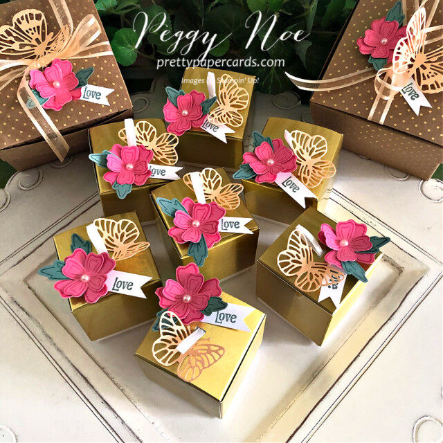 Simply Classic Gold Treat Box by Stampin' Up! by Peggy Noe of Pretty Paper Cards #simplyclassictreatbox #goldtreatbox #tinytreatbox #tinygoldtreatbox #stampinuptinytreatbox #peggynoe #prettypapercards