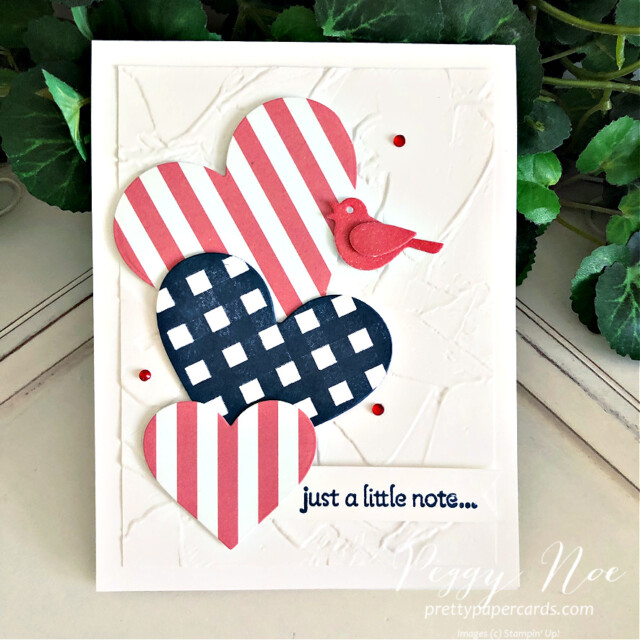 Handmade Fourth of July Card using the Lots of Hearts Bundle by Stampin' Up! created by Peggy Noe of Pretty Paper Cards #peggynoe #prettypapercards #prettypapercards.com #stampinup #stampingup #lotsofhearts #lotsofheartsbundle #fourthofjulycard #4thofjulycard #lotsofheartstampset #4thofjuly