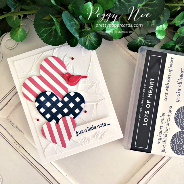 Handmade Fourth of July Card using the Lots of Hearts Bundle by Stampin' Up! created by Peggy Noe of Pretty Paper Cards #peggynoe #prettypapercards #prettypapercards.com #stampinup #stampingup #lotsofhearts #lotsofheartsbundle #fourthofjulycard #4thofjulycard #lotsofheartstampset #patternpartydsp