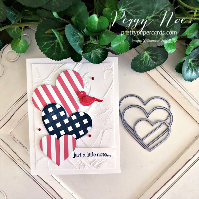 Handmade Fourth of July Card using the Lots of Hearts Bundle by Stampin' Up! created by Peggy Noe of Pretty Paper Cards #peggynoe #prettypapercards #prettypapercards.com #stampinup #stampingup #lotsofhearts #lotsofheartsbundle #fourthofjulycard #4thofjulycard #lotsofheartstampset