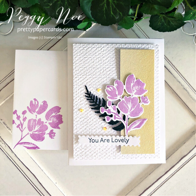 """Handmade 'You are Lovely"""" card made using the Art Gallery Stamp Set by Stampin' Up! created by Peggy Noe of Pretty Paper Cards #prettypapercards #prettypapercards.com #peggynoe #stampinup #stampingup #artgallerystampset #floralgallerydies #fms490 #tastefultextile #tastefultextileembossingfolder #tastefultextile3Dembossingfolder #ombrespecialtypaper #youarelovely"""