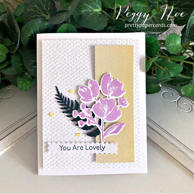 """Handmade 'You are Lovely"""" card made using the Art Gallery Stamp Set by Stampin' Up! created by Peggy Noe of Pretty Paper Cards #prettypapercards #prettypapercards.com #peggynoe #stampinup #stampingup #artgallerystampset #floralgallerydies #fms490 #tastefultextile #tastefultextileembossingfolder #tastefultextile3Dembossingfolder #ombrespecialtypaper #youarelovely #iconicdies #fernfrond"""