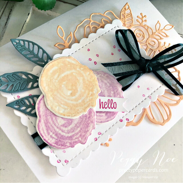 Handmade card using the Artistically Inked Bundle by Stampin' Up! created by Peggy Noe of Pretty Paper Cards #Peggynoe #prettypapercards #stampinup #stampingup #artisticallyinked #artisticallyinkedstampset #artisticallyinkedbundle #sweetasapeach #sweetasapeachstampset #2021-23incolors #anyoccasioncard