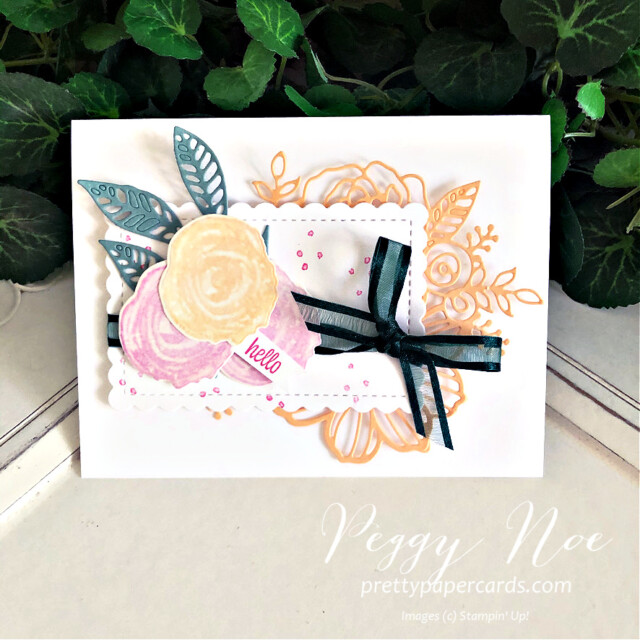 Handmade card using the Artistically Inked Bundle by Stampin' Up! created by Peggy Noe of Pretty Paper Cards #Peggynoe #prettypapercards #stampinup #stampingup #artisticallyinked #artisticallyinkedstampset #artisticallyinkedbundle #sweetasapeach #sweetasapeachstampset #hellocard #anyoccasioncard