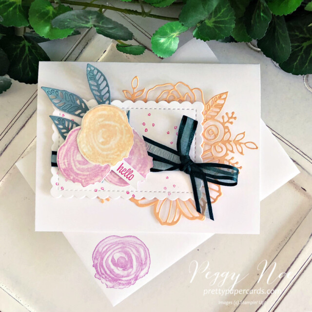 Handmade card using the Artistically Inked Bundle by Stampin' Up! created by Peggy Noe of Pretty Paper Cards #Peggynoe #prettypapercards #stampinup #stampingup #artisticallyinked #artisticallyinkedstampset #artisticallyinkedbundle #sweetasapeach #sweetasapeachstampset #2021-23incolors #hellocard #anyoccasioncard