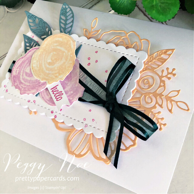 Handmade card using the Artistically Inked Bundle by Stampin' Up! created by Peggy Noe of Pretty Paper Cards #Peggynoe #prettypapercards #stampinup #stampingup #artisticallyinked #artisticallyinkedstampset #artisticallyinkedbundle #sweetasapeach #sweetasapeachstampset #hellocard