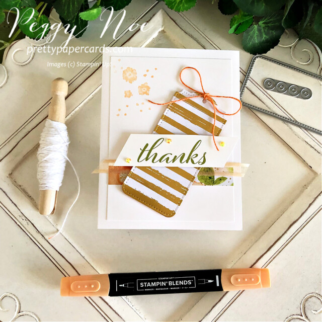 Handmade thank you card using Artistically Inked Bundle and Tailor Made Tags Dies by Stampin' Up! created by Peggy Noe of Pretty Paper Cards #stampinup #stampiingup #artisticallyinked #artisticallyinkedbundle #expressionsinink #tailormadetags #thankyou #thankyoucard #fms489