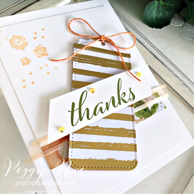 Handmade thank you card using Artistically Inked Bundle and Tailor Made Tags Dies by  Stampin' Up! created by Peggy Noe of Pretty Paper Cards #stampinup #stampiingup #artisticallyinked #artisticallyinkedbundle #expressionsinink #tailormadetags #tailormadetagsdies #thankyou #thankyoucard #fms489