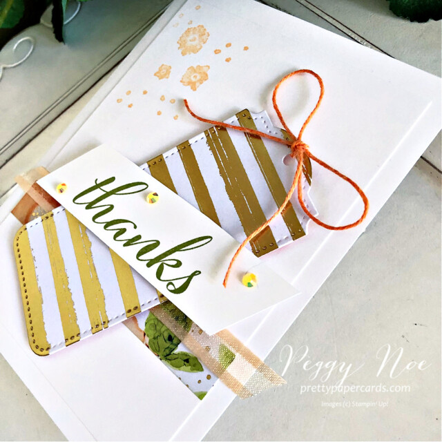 Handmade thank you card using Artistically Inked Bundle and Tailor Made Tags Dies by Stampin' Up! created by Peggy Noe of Pretty Paper Cards #stampinup #stampiingup #artisticallyinked #artisticallyinkedbundle #expressionsinink #tailormadetags #tailormadetagsdies #thankyoucard #fms489