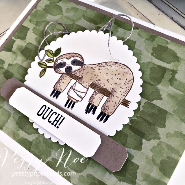 Handmade get well card made with the Back on Your Feet Stamp Set by Stampin' Up! created by Peggy Noe of Pretty Paper Cards #prettypapercards #prettypapercards.com #peggynoe #backonyourfeet #backonyourfeetstampset #stampinup #stampingup #layeredcircledies #lovelylabelspickapunch #you'reapeachpaper #you'reapeachdesignerseriespaper #getwell #getwellcard #sloth