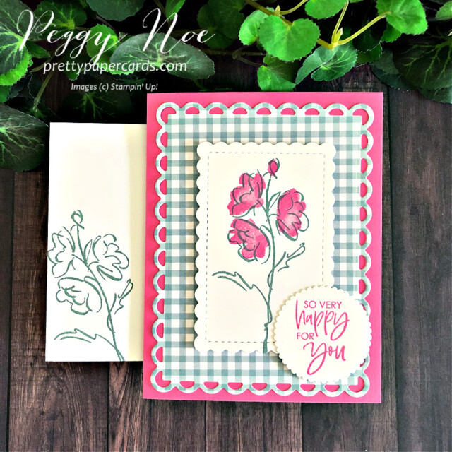 Handmade card using the Color & Contour Bundle by Stampin' Up! created by Peggy Noe of Pretty Paper Cards #peggynoe #prettypaprcards.com #color&contour #color&contourbundle #scallopedcontourdies #sohappyforyou #polishedpink #softsucculent #layeringcircledies #stampinup #stampingup #stampingupproducts #stampingupdemonstrator #pansypetalspaper #pansypetalsdesignerseriespaper