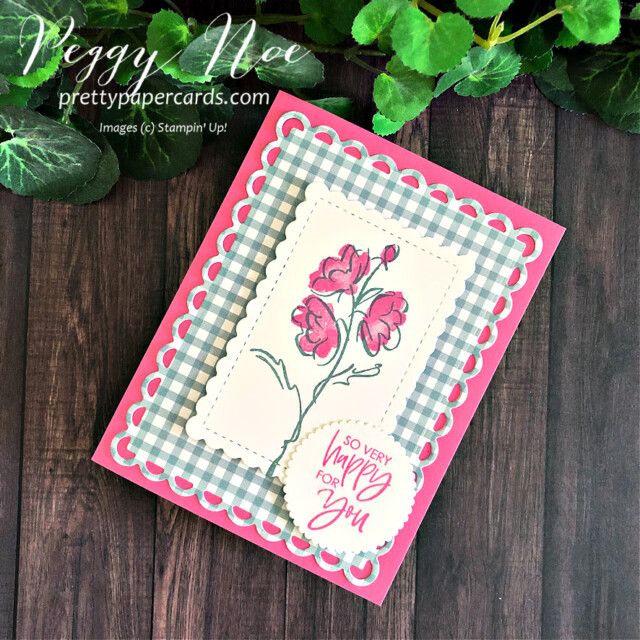 Handmade card using the Color & Contour Bundle by Stampin' Up! created by Peggy Noe of Pretty Paper Cards #peggynoe #prettypaprcards.com #color&contour #color&contourbundle #scallopedcontourdies #sohappyforyou #polishedpink #softsucculent #layeringcircledies #stampinup #stampingup #pansypetalspaper