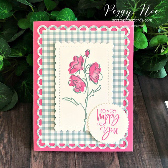 Handmade card using the Color & Contour Bundle by Stampin' Up! created by Peggy Noe of Pretty Paper Cards #peggynoe #prettypaprcards.com #color&contour #color&contourbundle #scallopedcontourdies #sohappyforyou #polishedpink #softsucculent #layeringcircledies #stampinup #stampingup #pansypetalspaper #pansypetalsdesignerseriespaper