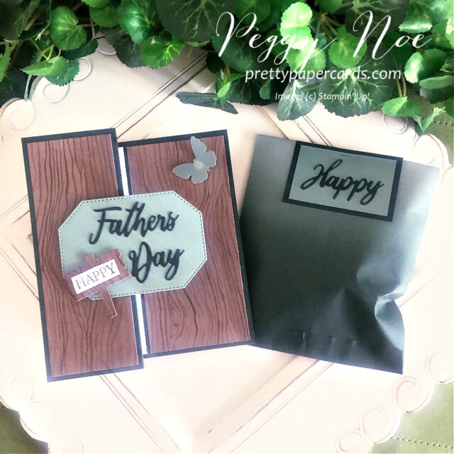 Handmade Father's Day Card and Gift Bag created with the Word Wishes Dies by Stampin' Up! created by Peggy Noe of Pretty Paper Cards #wordwishesdies #father'sday #father'sdaycard #stampin'up! #stampingup #stampinup #peggynoe #prettypapercards #prettypapercards.com #beautyoftheearth #beautyoftheearthdsp
