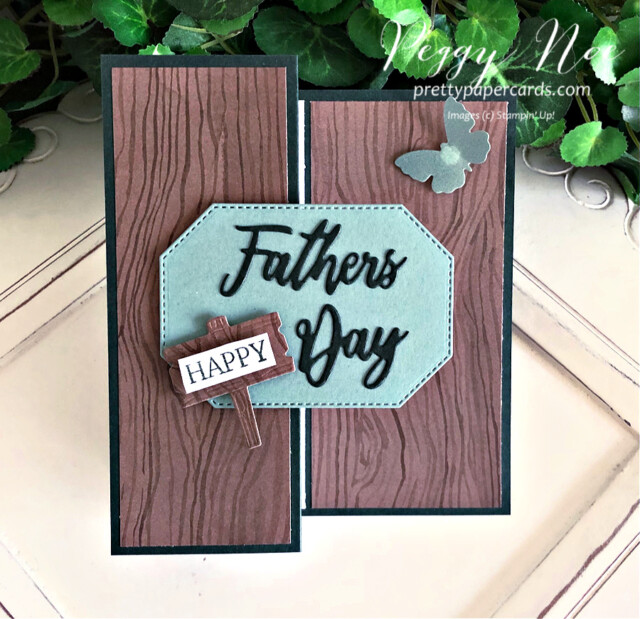 Handmade Father's Day Card and Gift Bag created with the Word Wishes Dies by Stampin' Up! created by Peggy Noe of Pretty Paper Cards #wordwishesdies #father'sday #father'sdaycard #stampin'up! #stampingup #stampinup #peggynoe #prettypapercards #beautyoftheearth #beautyoftheearthdsp
