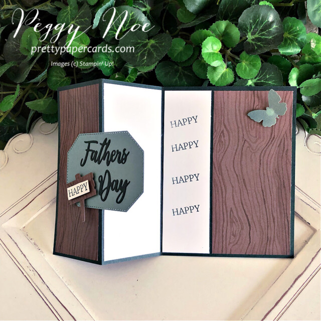 Handmade Father's Day Card and Gift Bag created with the Word Wishes Dies by Stampin' Up! created by Peggy Noe of Pretty Paper Cards #wordwishesdies #father'sday #father'sdaycard #stampin'up! #stampingup #stampinup #peggynoe #prettypapercards #thebeautyoftheearth #beautyoftheearthdsp