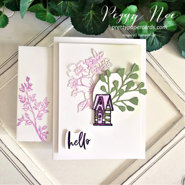 """Handmade """"hello"""" card made with the Garden Birdhouses Stamp Set by Stampin' Up! created by Peggy Noe of prettypapercards.com #peggynoe #prettypapercards #prettypapercards.com #stampinup #stampingup #gardenbirdhouse #gardenbirdhouses #gardenbirdhousesstampset #foreverflourishingdies #pennedflowersdies #blendingbrushes"""