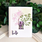 """Handmade """"hello"""" card made with the Garden Birdhouses Stamp Set by Stampin"""