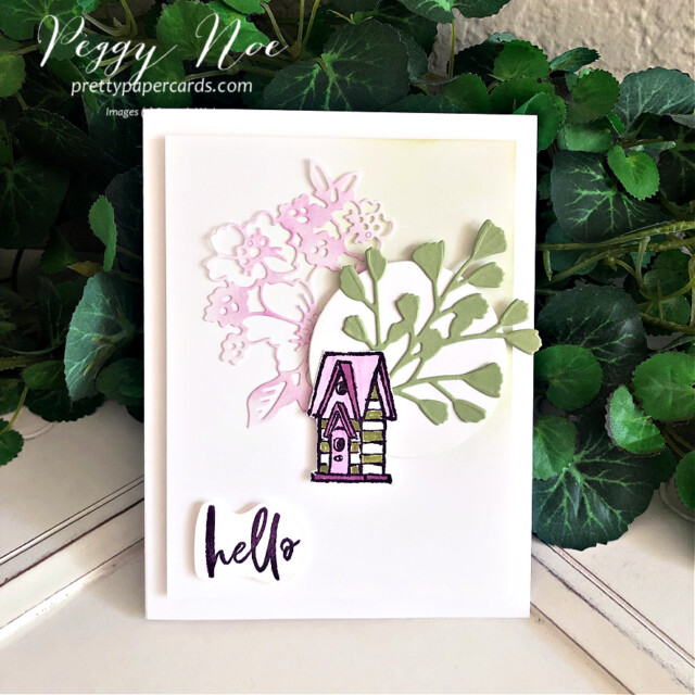 """Handmade """"hello"""" card made with the Garden Birdhouses Stamp Set by Stampin' Up! created by Peggy Noe of prettypapercards.com #peggynoe #prettypapercards #prettypapercards.com #stampinup #stampingup #gardenbirdhouse #gardenbirdhouses #gardenbirdhousesstampset #foreverflourishingdies #pennedflowersdies #blendingbrushes #hellocard #handmadecard"""