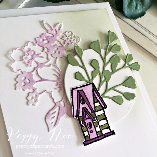 """Handmade """"hello"""" card made with the Garden Birdhouses Stamp Set by Stampin' Up! created by Peggy Noe of prettypapercards.com #peggynoe #prettypapercards #prettypapercards.com #stampinup #stampingup #gardenbirdhouse #gardenbirdhouses #gardenbirdhousesstampset #foreverflourishingdies #pennedflowersdies #freshfreesia"""
