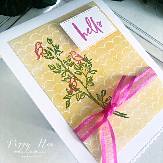 Handmade card using the Garden Birdhouses Stamp Set by Stampin' Up! created by Peggy Noe of Pretty Paper Cards #gardenbirdhouses #birdcard #hellocard #handpennedpaper #handpenneddsp #handpenneddesignerseriespaper #prettypapercards.com #floralcard
