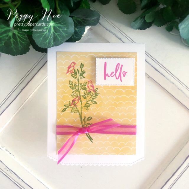 Handmade card using the Garden Birdhouses Stamp Set by Stampin' Up! created by Peggy Noe of Pretty Paper Cards #gardenbirdhouses #birdcard #hellocard #handpennedpaper #handpenneddsp #handpenneddesignerseriespaper #prettypapercards.com #floralcard #handmadecard