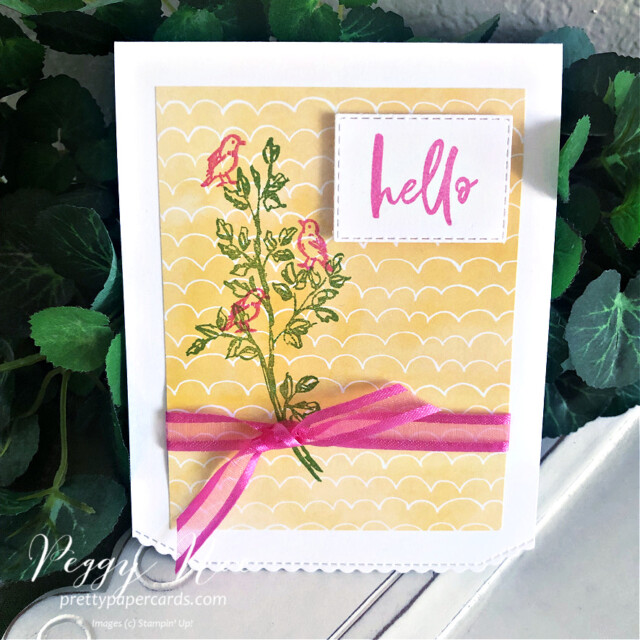 Handmade card using the Garden Birdhouses Stamp Set by Stampin' Up! created by Peggy Noe of Pretty Paper Cards #gardenbirdhouses #birdcard #hellocard #handpennedpaper #handpenneddsp #handpenneddesignerseriespaper #prettypapercards.com