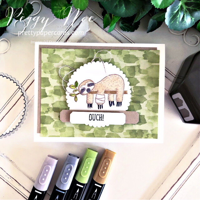 Handmade get well card made with the Back on Your Feet Stamp Set by Stampin' Up! created by Peggy Noe of Pretty Paper Cards #prettypapercards #prettypapercards.com #peggynoe #backonyourfeet #backonyourfeetstampset #stampinup #stampingup #layeredcircledies #lovelylabelspickapunch #you'reapeachpaper #you'reapeachdesignerseriespaper #getwell #getwellcard #slothcard
