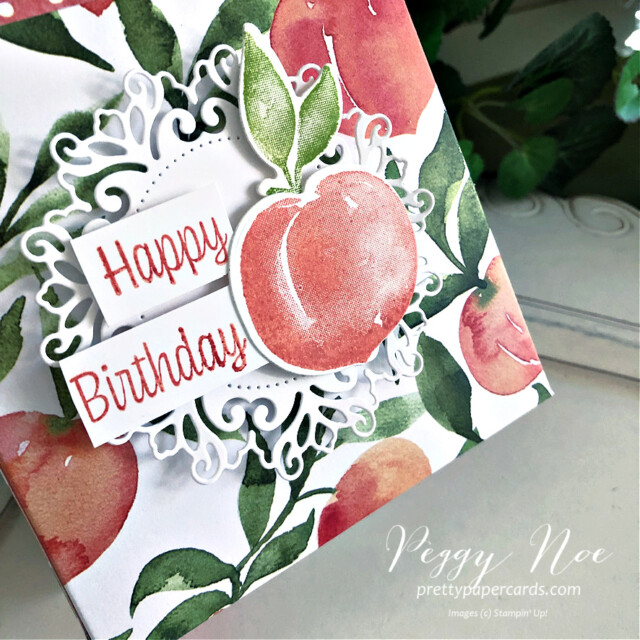 Handmade Happy Birthday Gift Bag made with Stampin' Up! You're a Peach Paper created by Peggy Noe of Pretty Paper Cards #peggynoe #prettypapercards #prettypapercards.com #giftbag #papergiftbag #handmadegiftbag #you'reapeach #you'reapeachdesignerseriespaper #you'reapeachdsp #encircledinbeautydies #sweetasapeachbundle #sweetasapeachstampset #birthdaybag
