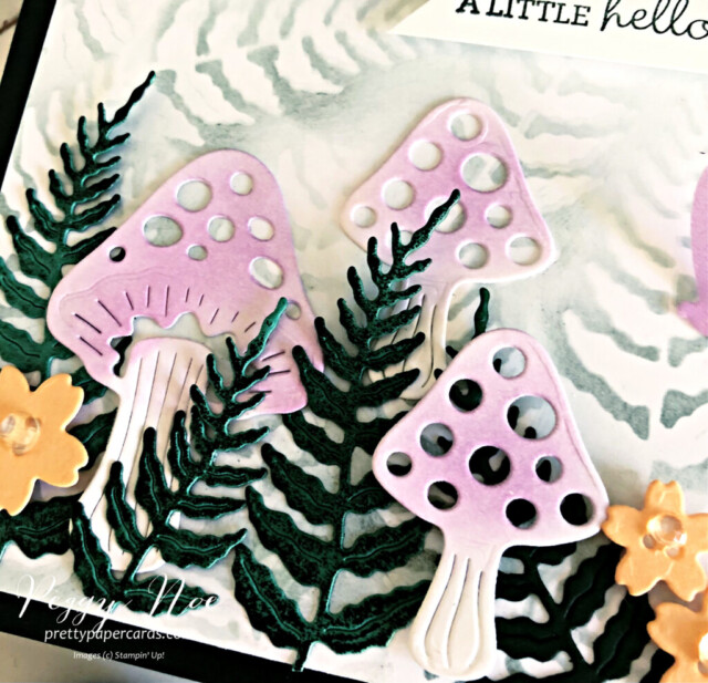 Handmade Fairy Garden Card created with the Iconic Dies by Stampin' Up! made by Peggy Noe of Pretty Paper Cards #prettypapercards #prettypapercards.com #iconicdies #fairygarden #fairygardencard #stampinup #stampingup #pansypatchstampset #pansypatch #blendingbrushes #blendingoncards
