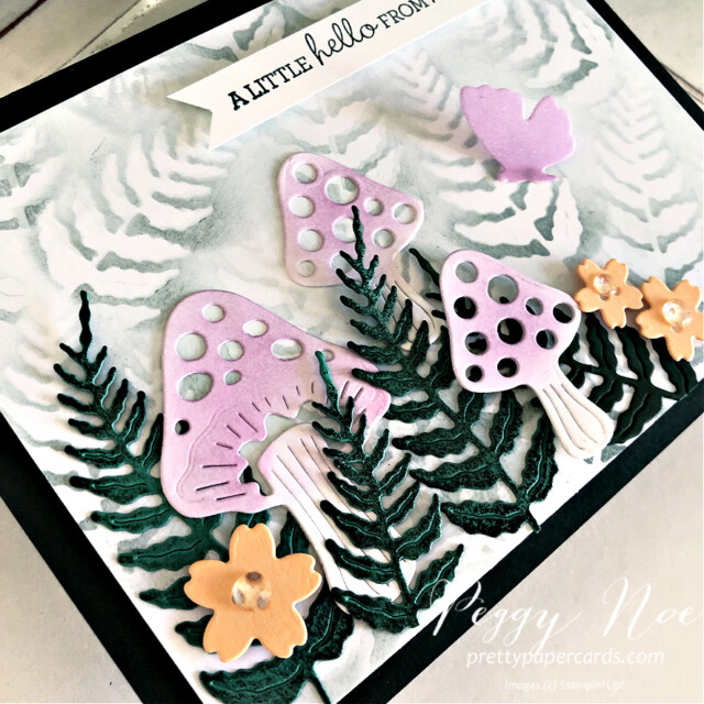Handmade Fairy Garden Card created with the Iconic Dies by Stampin' Up! made by Peggy Noe of Pretty Paper Cards #prettypapercards #prettypapercards.com #iconicdies #fairygarden #fairygardencard #stampinup #stampingup #pansypatchstampset #pansypatch #blendingbrushes