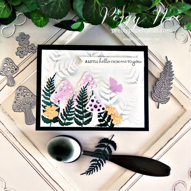 Handmade Fairy Garden Card created with the Iconic Dies by Stampin' Up! made by Peggy Noe of Pretty Paper Cards #prettypapercards #prettypapercards.com #iconicdies #fairygarden #fairygardencard #stampinup #stampingup #pansypatchstampset #pansypatch #blendingbrushes #stampinupblendingbrushes