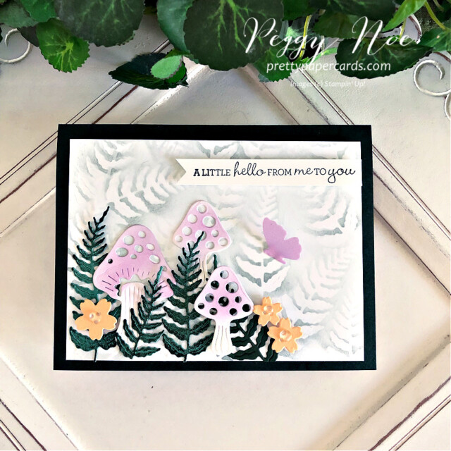 Handmade Fairy Garden Card created with the Iconic Dies by Stampin' Up! made by Peggy Noe of Pretty Paper Cards #prettypapercards #prettypapercards.com #iconicdies #fairygarden #fairygardencard #stampinup #stampingup #pansypatchstampset #pansypatch #blendingbrushes #stampinupblendingbrushes #ferngarden