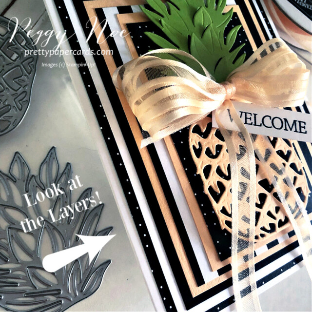 Handmade welcome pineapple card made with the In the Tropics Dies by Stampin' Up! created by Peggy Noe of Pretty Paper Cards #pineapplecard #welcomecard #inthetropicsdies #palsbloghop #layeredcard #stampinup #stampingup #peggynoe #prettypapercards