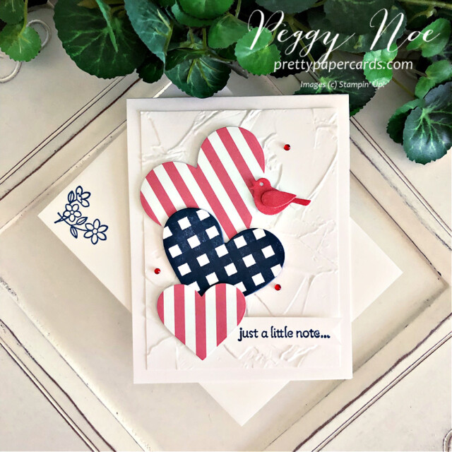 Handmade Fourth of July Card using the Lots of Hearts Bundle by Stampin' Up! created by Peggy Noe of Pretty Paper Cards #peggynoe #prettypapercards #prettypapercards.com #stampinup #stampingup #lotsofhearts #lotsofheartsbundle #fourthofjulycard #4thofjulycard #lotsofheartstampset #4thofjuly #peggynoecard