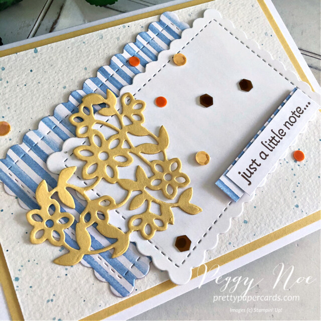 Handmade card using the Lots of Heart Bundle by Stampin' Up! created by Peggy Noe of Pretty Paper Cards #lotsofheart #lotsofheartbundle #lotsofheartstampset #justalittlenote #GDP294 #you'reapeachdsp