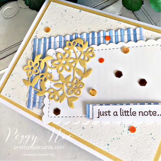 Handmade card using the Lots of Heart Bundle by Stampin' Up! created by Peggy Noe of Pretty Paper Cards #lotsofheart #lotsofheartbundle #lotsofheartstampset #justalittlenotecard #GDP294 #you'reapeachdsp #you'reapeachpaper